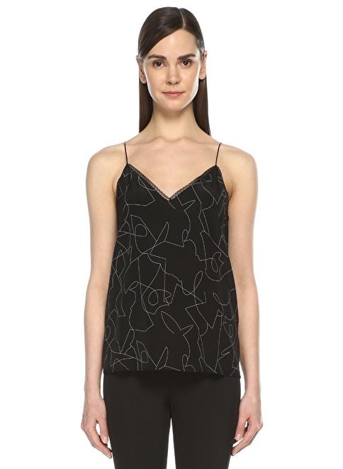 Beymen Collection İnce Askılı Abstrakt Desenli Bluz Siyah